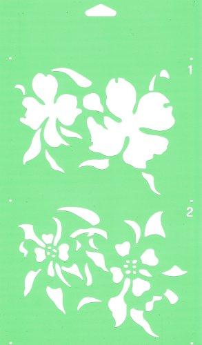 30cm x 17.5cm Pochoir (2 étapes) Réutilisable en PCV Plastique Transparent Souple Trace Gabarit - Traçage Illustration Conception de Gâteau Murs Toile Tissu Meubles Décoration Aérographe Airbrush - Fleurs Sauvages Feuilles