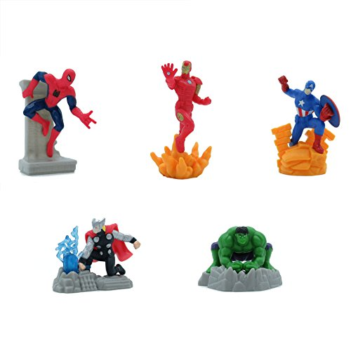 (Avengers Set 5 Mini Figuren 7cm Kuchen Topper Cake Topper Spider Man Iron Man Captain America Hulk und Thor Original)