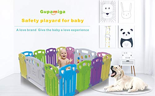 Baby Playpen Kids Activity Centre Safety Play Yard Home Indoor Outdoor New Pen (Multicolour, Classic Set 14 Panel) (Multicolour 14 Panel) Gupamiga MOM'S LIFESAVER: Keep baby safe in there play centre when mom/dad needs to cook, clean up, go to the bathroom, etc. STURDY HOLDING: Specially designed rubber feet underneath of the yard so the parts don't go sliding around. COVERS A LARGE AREA: It is a great amount of space for baby to learn walk and even laying with baby in it for play time. 8