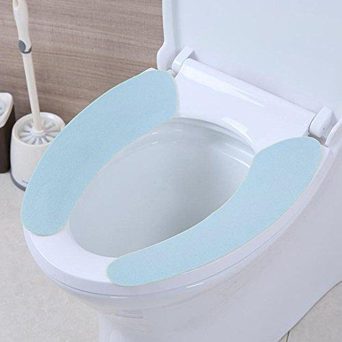 Beautop coprisedile wc morbido caldo addensare peluche sedile cuscino pad tappetino lavabile elastico copriwater più caldo per bagno decorazione, blue, 38 x 9cm