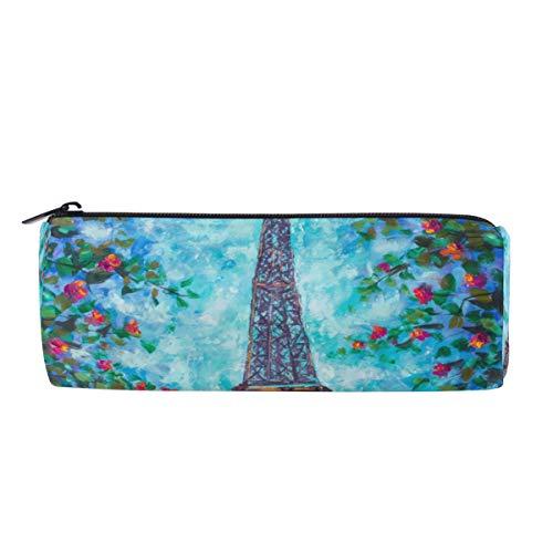 Wamika Paris Eiffelturm Stifteetui, für Ölgemälde, Frühlingsblumen, Make-up-Tasche, Kosmetik, Aufbewahrungstasche, Organizer für Büro