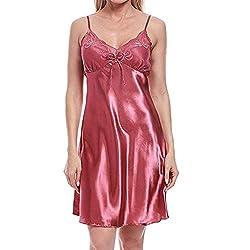 Mymyguoe Frauen Satin Nachtwäsche Damen Nachtwäsche Nachthemd Sexy Dessous mit Brustpolstern Spitze Splice Minikleid Pactwork Spaghetti Nachtkleid Lingerie Set Sleepwear