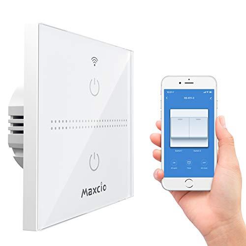Interruptor Luz Inteligente, Maxcio Interruptor Pared WiFi 2 Gang Compatible con Alexa,...