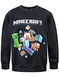 Minecraft Run Away Boy's Black Sweatshirt