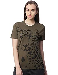 Wolfpack Leopard Graphic Army Green Round Neck Half Sleeves 100% Cotton Girls/Womens T Shirts for Animal Lovers