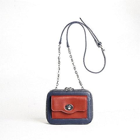 malilove diagonale chaîne Petit Paquet Sac Sac à main de couleur Lock sur seul sac d'épaule, Bleu/rouge