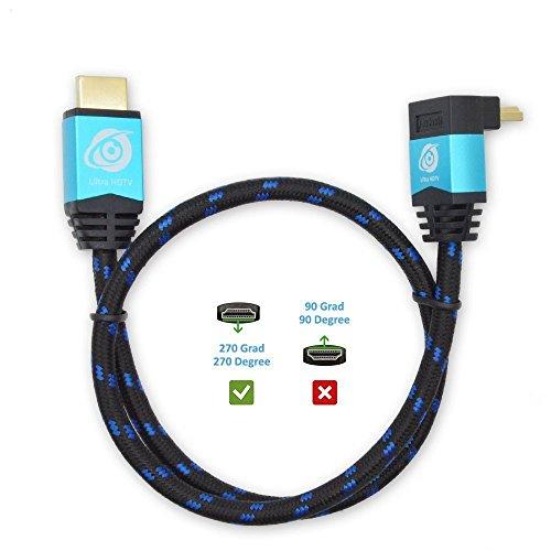 Ultra HDTV Premium 4K HDMI Kabel 5m mit 1x 270°-Winkel / HDMI 2.0b, 4K bei vollen 60Hz (keine Ruckler), HDR, 3D