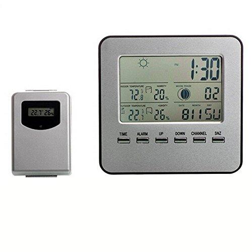 alxcio Station Digitale Kabellose Wetterstation Wecker mit Sensor Thermometer Hygrometer Schauen Büro mit großem Display LCD Innen Außen Phase De Lune