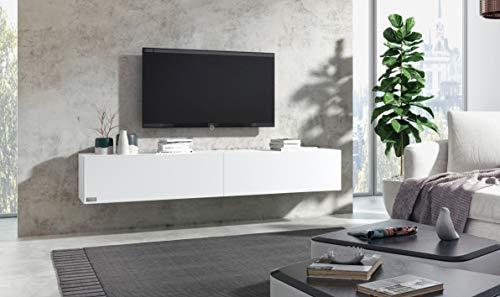 Wuun® TV Board hängend/8 Größen/5 Farben/160cm Matt-Weiß/Front: Weiß-Matt/Lowboard Hängeschrank Hängeboard Wohnwand/Hochglanz & Naturtöne/Somero