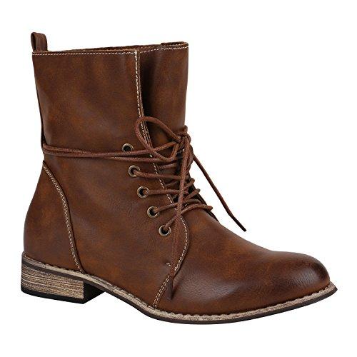 Leicht Gefütterte Damen Schuhe Stiefeletten Stiefel Schnürstiefeletten 151843 Braun Brooklyn 37 Flandell