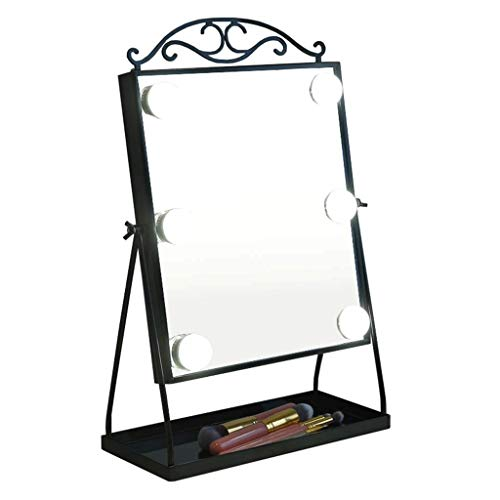 Kosmetikspiegel Hollywood-Stil Tischspiegel for Make-up Schminktisch mit 6 dimmbaren Glühbirnen schwarz dekorativen Spiegel LITL ()