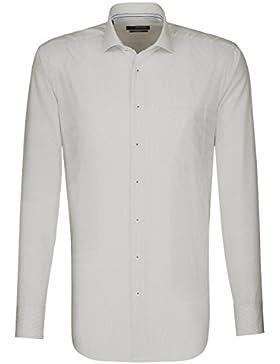Seidensticker Herren Langarm Hemd Splendesto Regular Fit New Kent Stitch braun / weiß gestreift 189860.27