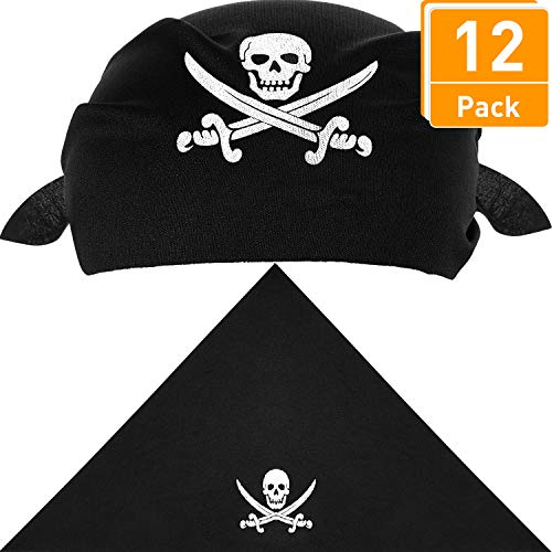 Blulu 12 Packung Piraten Bandana Schwarz Piraten Kapitäns Kopftuch für Pirat Thema Party, Halloween und Kinder Party Favors, 21,5 x 21,5 x 28,5 Zoll