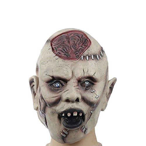 Chakil 1 Stück Halloween Kostüm Maske Horror-Smiley-Maske Latex Maske Horror Kopfbedeckung für Halloween Cosplay Partei-Kostüm-Abendkleid