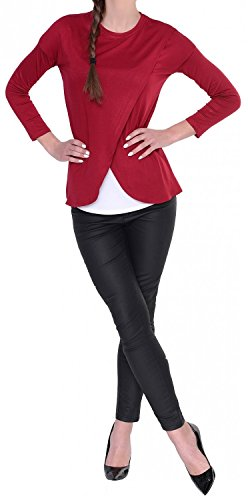 Happy Mama. Damen Umstandsmoden Top Stillshirt Lagendesign Wickeln-Schicht. 962p Purpur