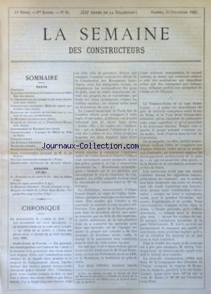 SEMAINE DES CONSTRUCTEURS (LA) [No 24] du 10/12/1887