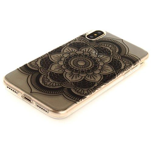 """Hülle für Apple iPhone X , IJIA Transparent Bunte Blumen TPU Weich Silikon Stoßkasten Cover Handyhülle Schutzhülle Bumper Handytasche Schale Case Tasche für Apple iPhone X (5.8"""") S1(black)"""