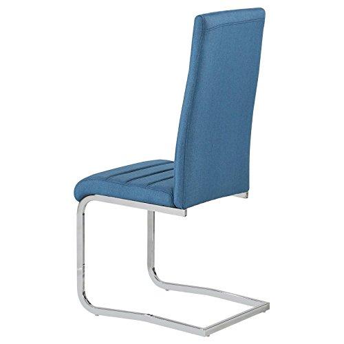 4er Set Esszimmerstuhl Küchenstuhl Schwingstuhl MODESTO, Gestell in chrom, Stoffbezug in blau - 3