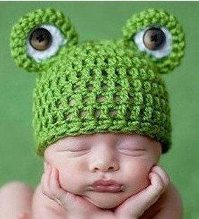 Baby Kleinkind Neugeborenen Hand gestrickt häkeln Strickmütze Hut Kostüm Baby Fotografie Requisiten Props (Frosch ()