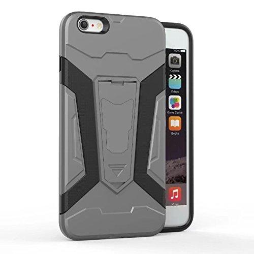 Neue Rüstung Tough Hybrid Dual Layer Rüstung Defender PC Hard Shell Cover mit Kickstand [Shockproof Case] Für iPhone 6 Plus & 6s Plus ( Color : Silver ) Gray