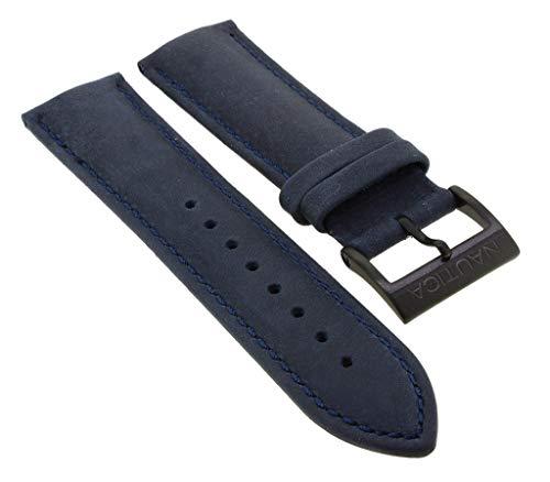 Nautica Ersatzband | Uhrenarmband aus Leder in blau mit schwarzer Schließe | NAI18501G
