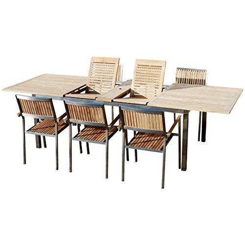 ASS Gartengarnitur Edelstahl Teak Set: Tisch 200-280x100 cm + 6 Teak Sessel Serie Kuba von