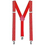 tumundo Hosenträger mit Clips Unifarben Muster Punkte Rockabilly Damen Herren Bunt Schwarz Weiß Rot Leo Muster Y-Form, Modell:breit Punkte rot