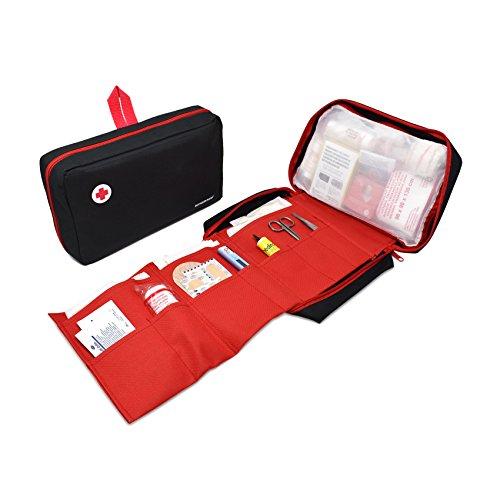 41Mipgc1yKL - Botiquín de primeros auxilios PREMIUM con 120 artículos (incluye termómetro, manta de emergencia, suero fisiológico, etc)