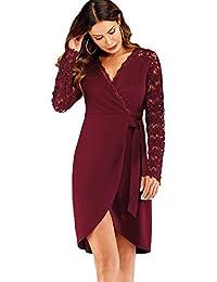 153a10b7c028 DIDK Damen Spitzenkleid Knielang Partykleid Cocktailkleid Abendkleid  Langarm Kleider