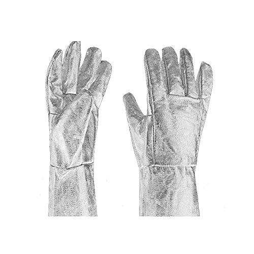 MOGOI Hitzebeständige Handschuhe, 500 Grad Aluminiumfolienfaser-Handschuhe mit Fingern für Stahlherstellung, Holzofen, Metallschneiden, Grillen, Ofen, Kamin, Holzofen.