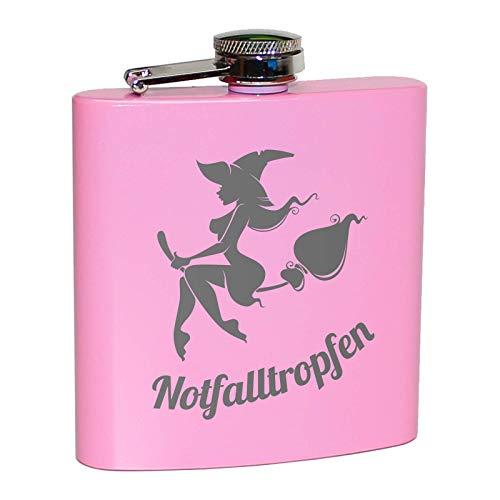 Pixelstudio Notfalltropfen Flachmann in Pink für Frauen   Lustiges Geschenk für Feiern, Partys, JGA, zum Wandern, Skifahren, Bergsteigen etc.   Alkohol Flasche mit Hexe auf Besen, Rosa