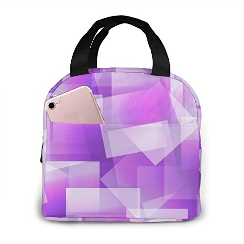 Jkimiiscute Abstraktes quadratisches nahtloses Purpur Lunchpakete Lunch Tote Cooler Bag Lunch-Taschen Kühltaschen Boxen (Bag Lunch Quadratische Große)