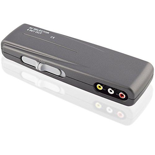 Audio Video RCA Umschaltbox Switch / 4 Cinch Buchse Kupplung IN / 1 Cinch Buchse Kupplung OUT / Grau