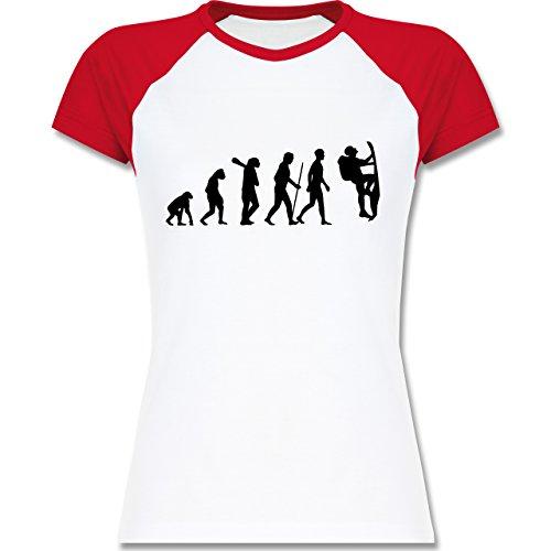 Shirtracer Evolution - Klettern Evolution - Zweifarbiges Baseballshirt/Raglan T-Shirt für Damen Weiß/Rot