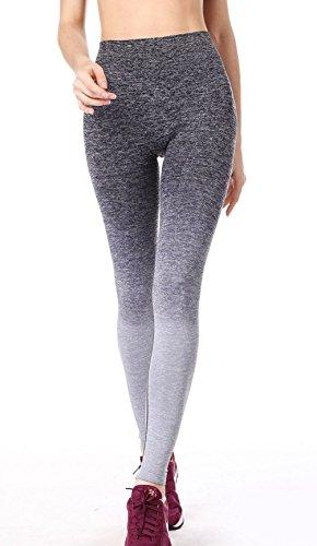 qutool Damen Sport Hose Yoga Leggings Strumpfhosen Workout Hose Running Hose Medium schwarz - schwarz