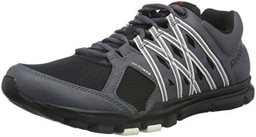 Reebok Yourflex Trainer 8.0, Chaussures de Fitness Homme Noir (Stealth/Black/Ash Grey/Chalk)