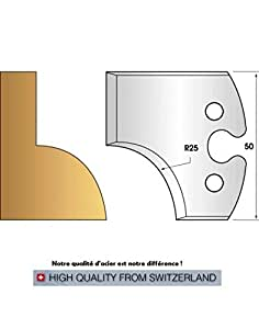 Paire de fers de toupie hauteur 50 mm n° 219 - quart de rond rayon 25 mm (Contre-fers (non coupants))