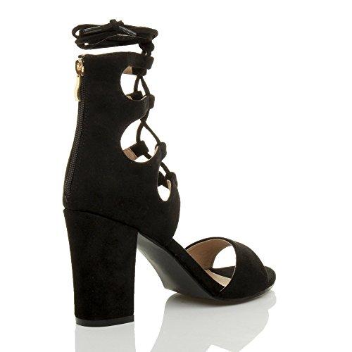 Gr枚脽e Schwarz Toe Damen Peep Absatz Ausgeschnitten Schuhe Pumps Sandalen Wildleder Hohe Schn眉r xYOzqwYSv