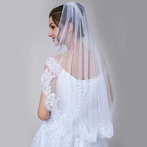Kaige Brautschleier Einlagige ausgefransten Rand Applique weiche Mesh Schleier weiße einfache...