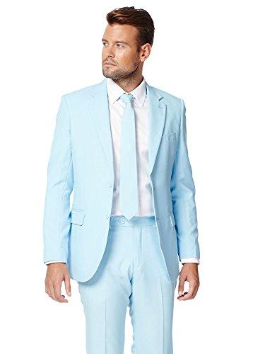 Preisvergleich Produktbild OppoSuits Cool Blue Solid Light Blue Suit For Men Coming With Pants,  Jacket and Tie - 100% Money Back Guarantee,  EU 50