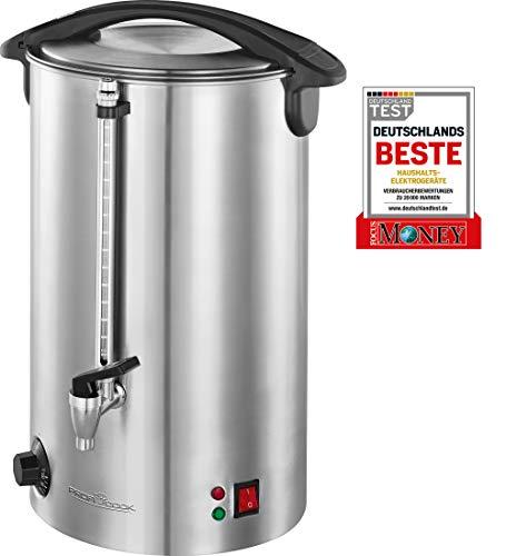 Profi Cook PC-HGA 1111 Heißgetränke-und Glühweinautomat, Edelstahlgehäuse, 16 L, Füllstandsanzeige, massiver Metall-Zapfhahn, 1500 Watt, inox