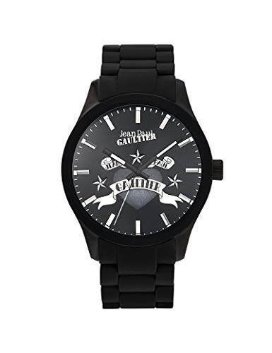 Jean-Paul Gaultier - Reloj Unisex de Silicona, Color Negro