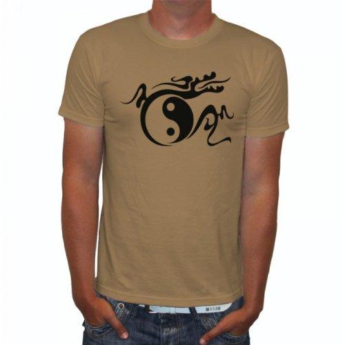 J.Roxx Drachen Ying Yang Tribal Fun Herren T-Shirt, Größe:L;Farbe:khaki (Herren-braun-drache-shirt)