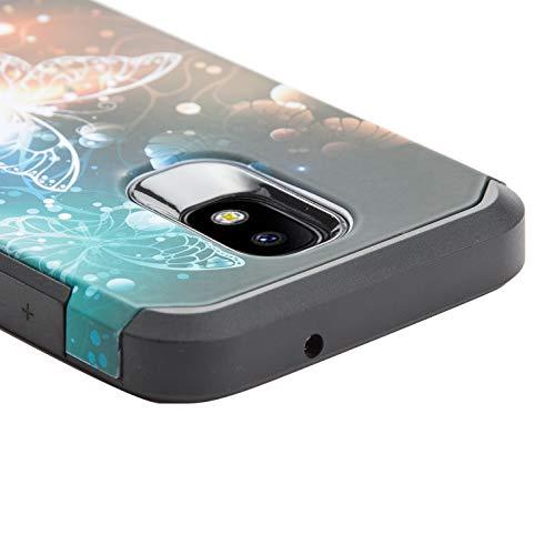 LUXCA Hybrid-Schutzhülle für Samsung J7 Star / J7V 2nd Gen / J7 Refine / J7 2018 (2-lagig), 1 vollständige Abdeckung aus gehärtetem Glas, Dancing Butterfly