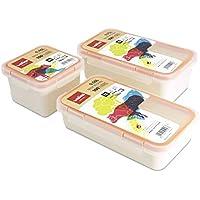 Valira - Juego de 3 Contenedores Porta Alimentos 100% Herméticos de Plástico Cerámico de Alta