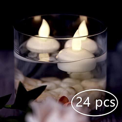 Homemory 24-Pack wasserdichte flammenlose schwimmende Teelichter, warmweiße Batterie flackernde LED-Teelichter - Hochzeit, Party, Herzstück, Pool & SPA