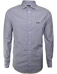 Armani Jeans Men's Fantasy Blue Striped Long Sleeve Shirt