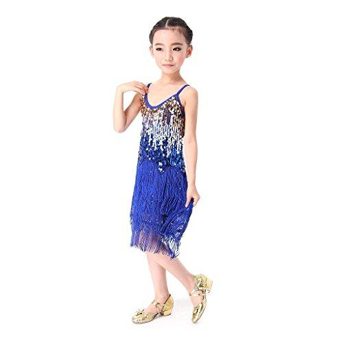 SymbolLife Ragazze Latino Paillettes Vestiti di Ballo Della Nappa latino Abbigliamento per la Danza Blu (Tono Oro Nappa)
