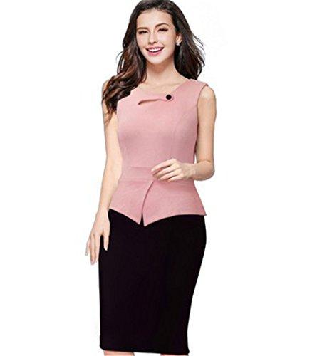 JOTHIN 2017 Damen Druck Bodycon Kleid Festkleid Rundausschnitt Etuikleider Langarm/ärmellose Bleistiftkleid Business Kleid Große Größen Pink+S