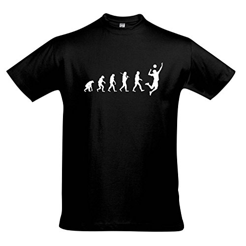 T-Shirt - EVOLUTION - Volleyball Sport FUN KULT SHIRT S-XXL , Deep black - weiß , S